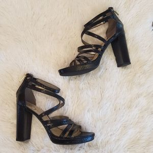 Circus by Sam Edleman black wrap block heels